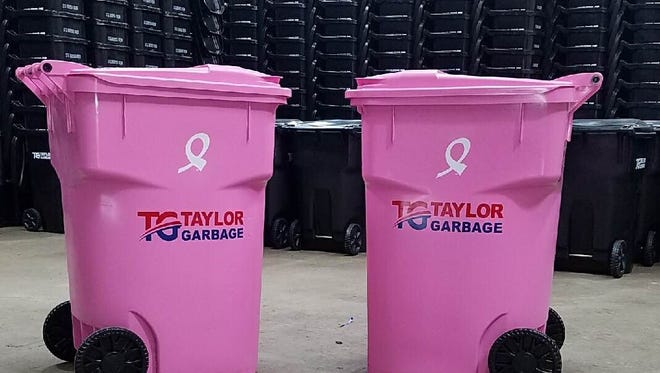 Taylor Garbage placed pink garbage cans throughout the community during October honor of Breast Cancer Awareness Month.