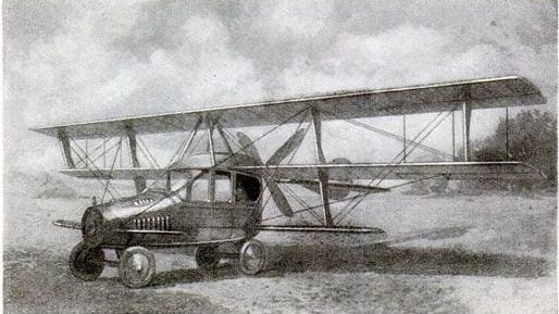 """As far back as 1917, the Glenn Curtiss Manufacturing Company built the first ever """"autoplane"""" flying car that did get off the ground but never achieved full flight. Curtiss was best known as a successful motorcycle builder/racer and set a world record of 136.36 mph on his home built motorcycle in 1907 at the Ormond Beach, Florida, Speed Trials."""