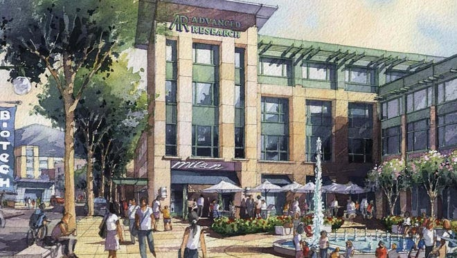 A rendering of the proposed Westchester BioScience and Technology Center's Fountain Plaza.