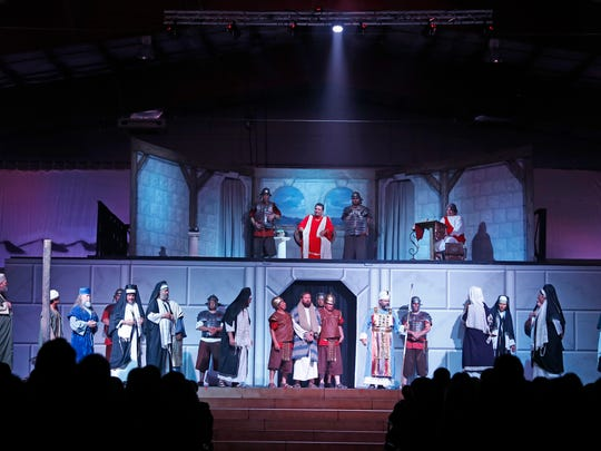 Jesus, portrayed by Derrick Adams, is sentenced to death during an April 1, 2015, Passion Play performance at the McGee Park Convention Center.