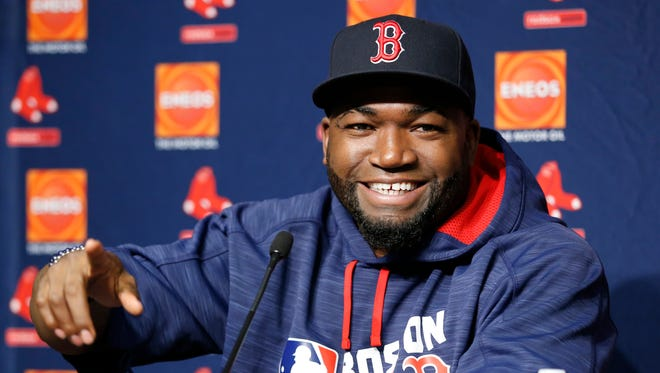 Boston Red Sox designated hitter David Ortiz gestures as he speaks to members of the media during a press conference before the first baseball game of a three-game series against the New York Yankees in New York, Tuesday, Sept. 27, 2016.