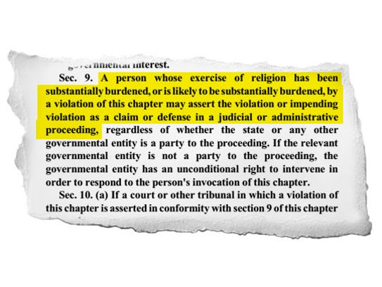 A highlighted part of Section 9 of the Indiana Religious