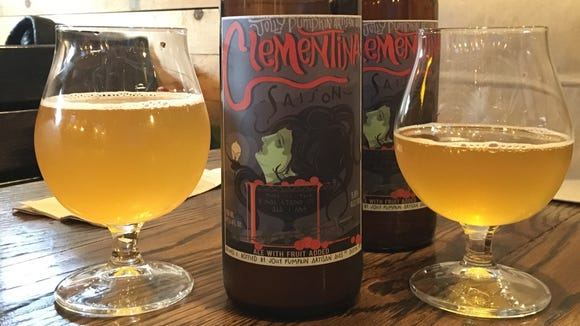 Clementina is a farmhouse saison brewed with clementine oranges. It's a brewpub only release in bomber-sized bottles.