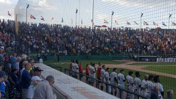 Pre-game anthem before the Wabash Valley and Cowley County game Monday at the NJCAA Division I World Series.