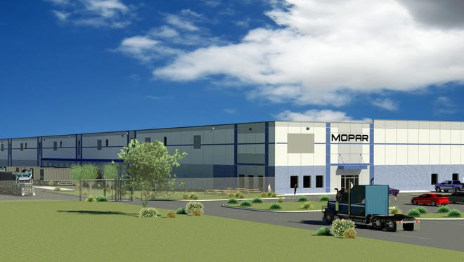 A rendering of a 500,000 Mopar parts distributin center that Fiat Chrysler Automobiles will open in Romulus next year.