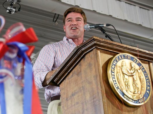 Kentucky attorney general Jack Conway speaks at the Fancy Farm picnic Saturday afternoon. Conway is likely to run for Kentucky governor in 2015.  (By Matt Stone, The Courier-Journal) Aug. 3, 2013