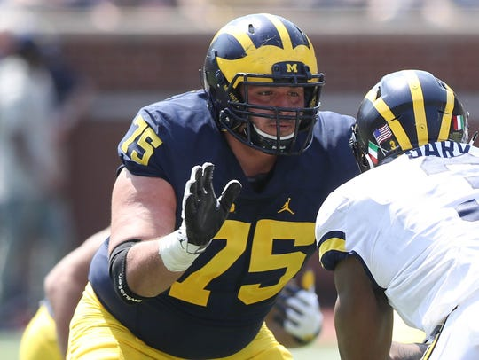 Michigan offensive lineman Jon Runyan in the spring