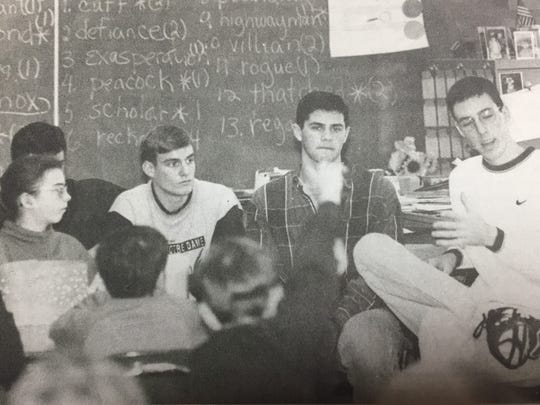 Several students from Union County High School volunteered as role models for the DARE program presented at Morganfield Elementary School to fifth graders in January 1996. Shown speaking at right is Paul Hendrickson, with Mike Vinson and Tim Byars.