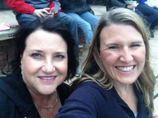 Jennifer with friend Kim Fisher at Redrocks for the Jackson Browne concert.