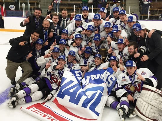 The Shreveport Mudbugs celebrate their NAHL Robertson Cup championship on May 14 in Blaine. Defenseman Nikolai Jenson of Cold Spring was one of three Minnesotans who played in the championship game for Shreveport.