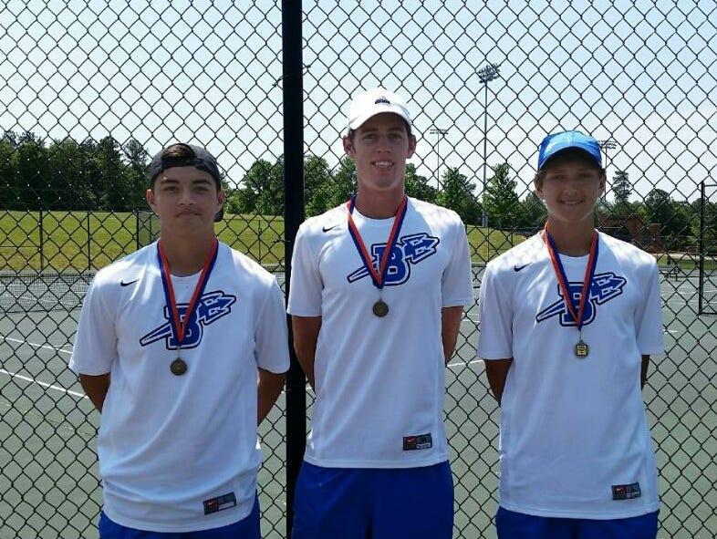 Brevard tennis players Cameron Wilson, Joseph Schrader and Liam Baer.