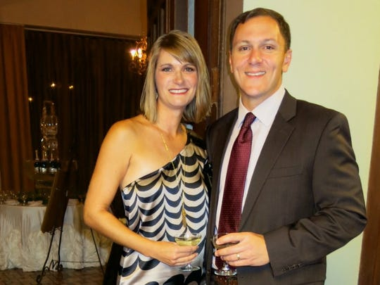 Whitney and Andrew Thompson, of Baton Rouge, at Gooden-Calligas wedding reception.