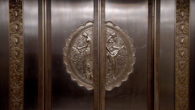 One of the Art Deco elevators at New York City's Waldorf Astoria, one of the most famous hotels in the world, February 24, 2017.  On March 1, 2017, the Waldorf Astoria will close temporarily for renovations,  and reportedly only a small portion of the hotel will remain the rest being turned into condominiums. The Waldorf Hotel opened in March 1893.