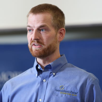 ATLANTA, GA - AUGUST 21:  Dr. Kent Brantly speaks during a press conference announcing his release from Emory Hospital on August 21, 2014 in Atlanta, Georgia.  Dr. Brantly thanked the medical team, his family and Samaritan's purse for their help in his recovery.  Dr. Brantly and another patient, Nancy Writebol, were released from Emory Hospital after receiving treatment for Ebola that they both contracted while working as medical missionaries in Liberia.  (Photo by Jessica McGowan/Getty Images)