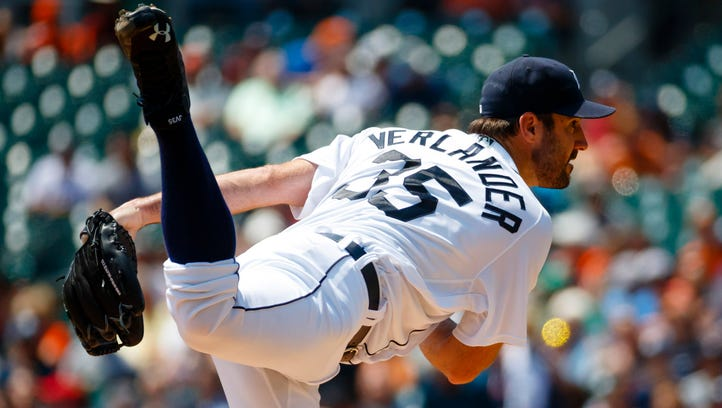 Detroit Tigers starting pitcher Justin Verlander pitches in the first inning against the Minnesota Twins on July 20, 2016, at Comerica Park.