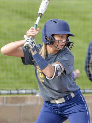 Jordyn Severns awaits the pitch during a win by Tallmadge over Stow.