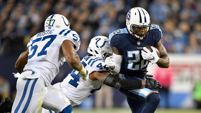 Titans running back Derrick Henry ran for a career-high 131 yards Monday night against the Colts.