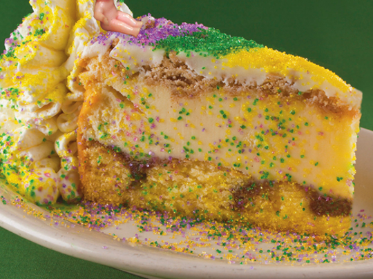 Copeland's of New Orleans offers a king cake cheesecake during the Mardi Gras season.