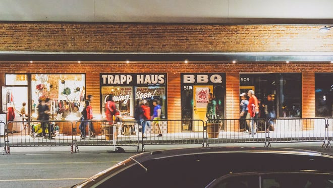 The storefront of Trapp Haus BBQ which opened March 2, 2018, on Roosevelt Row in downtown Phoenix.