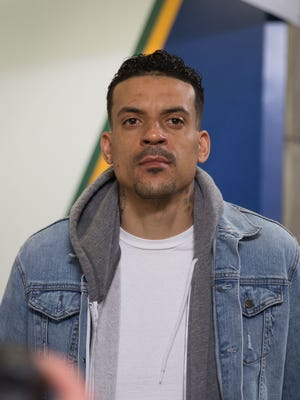 Matt Barnes walking into the arena before a game between the Utah Jazz and the Golden State Warriors.