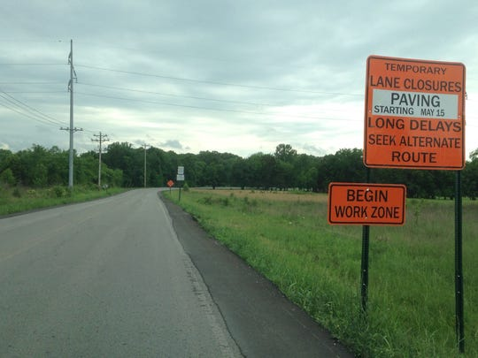 This sign shows where Rutherford County Highway Department crews will return to resurfacing Baker Road Monday from Old Nashville Highway to Blackman Road. County Highway Superintendent Greg Brooks expects the project to take three weeks.