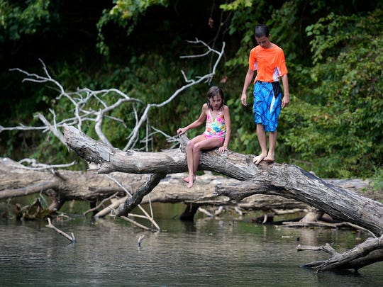 Waiting to see who jumps in first, siblings Karlie and Kaden Marshall stand on a fallen tree in the Buffalo River. Federal regulators criticized the Tennessee Department of Environment and Conservation for its water quality enforcement.
