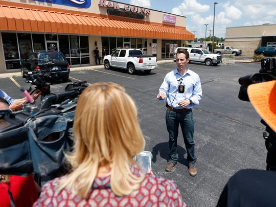 Then-Missouri Attorney General Josh Hawley talks about authorities executing search warrants at 13 Asian massage parlors in Greene County in 2017.