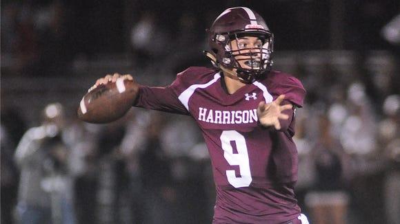 Harrison quarterback Frank Nannariello looks to pass