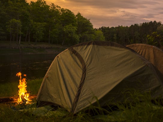 Camping along the Mississippi River.