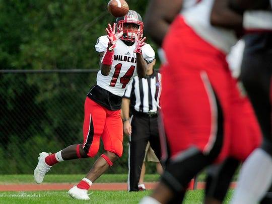 Wilson's Jah'kier Moore catches a screen pass that