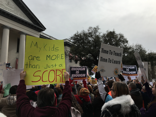 The rally was organized by the Florida Education Association,