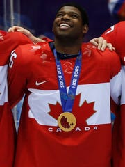PK Subban of Team Canada on the podium with his gold