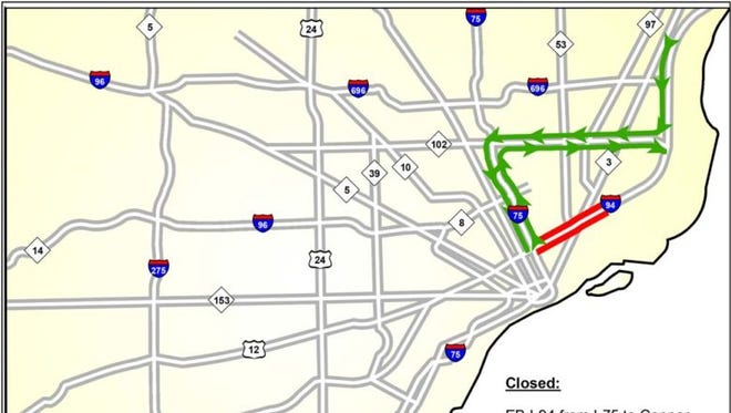 MDOT will close I-94 between Conner and I-75 in Detroit for construction work.