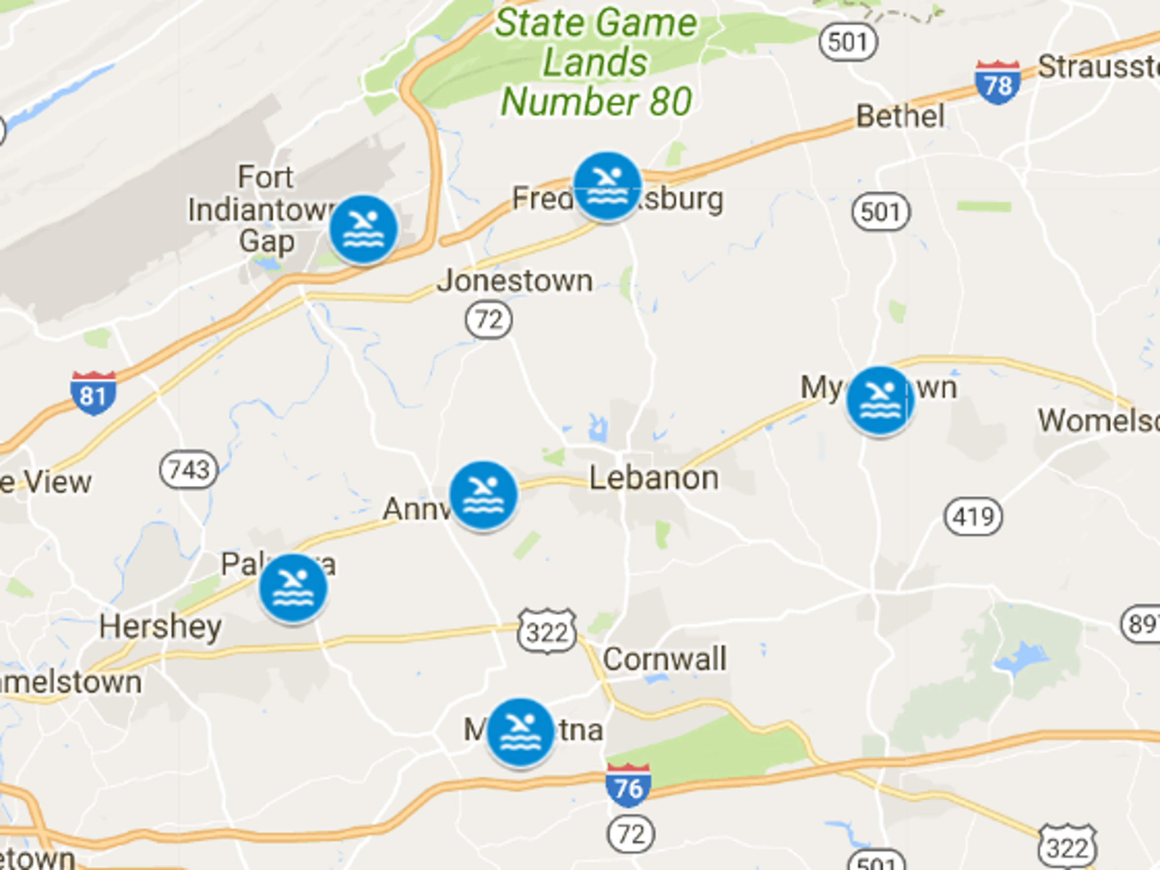 There are currently six public swimming pools open in Lebanon County.