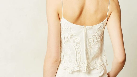 Anthropologie Tiered Lace Romper