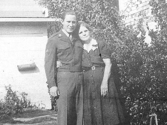 Staff Sgt. Frank Adkins and his Grandmother Adkins