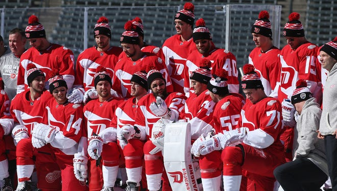 The Detroit Red Wings pose for a team photo prior to their practice skate session on the eve of their game versus the Colorado Avalanche at the 2016 Coors Light Stadium Series at Coors Field on February 26, 2016 in Denver, Colorado.
