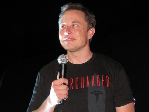 Elon Musk at a 2012 event to unveil the company's new supercharger for fast charging of electric cars