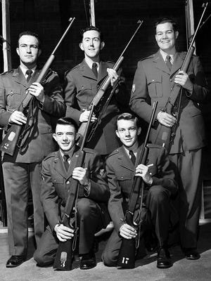 AFROTC Sharpshooters - Leading members of the Air Force ROTC Rifle Team at Memphis State, which will have its record of 23 consecutive victories at stake in a match with Arkansas State on 28 Apr 1953 are:  Kneeling (L to R) Nelson Freeman and Carroll Johnson.  Standing (L to R) are:  M. Lamar Kilpatrick, Charles Lancaster and Hamilton Eaker.