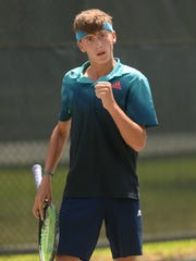 Jacob Bullard of So. Cal. celebrates a shot during the final day of play of the USTA Intersectional Tennis 16s at Pierremont Oaks Tennis Club.