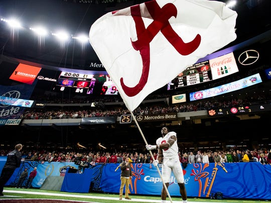 Alabama running back Bo Scarbrough (9) celebrates after the Sugar Bowl at the Superdome in New Orleans, La. on Monday January 1, 2018.