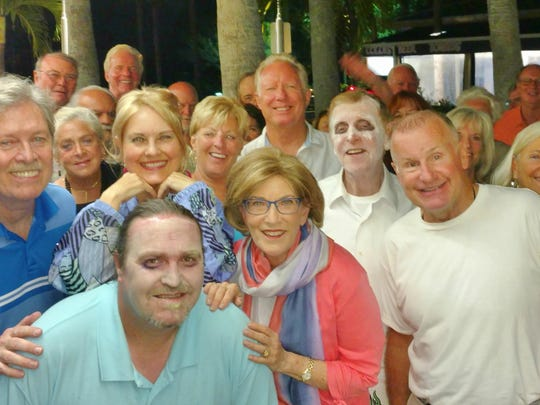 "The cast of The Marco Players production ""Heaven Help Me"" joined the fun after the show with the members of the Marco Island Yacht Club who packed the house to watch fellow Yacht Club member Carol Comeaux in her role as Rita Romano in the comedy set at a beach house.  Cast members from left, Kevin Kenneally, Carol Comeaux, Sean O'Shea, Karen Ezrine, Bob Logan and Alex Costello."