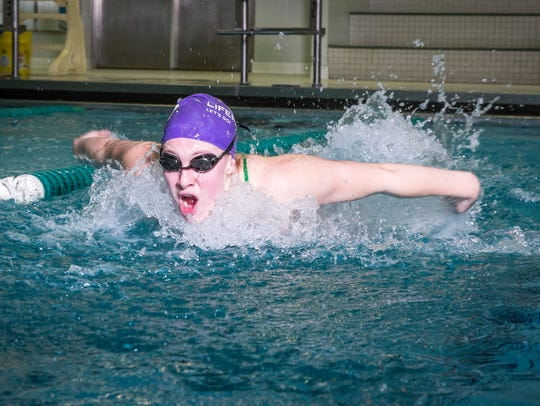 Morgan Hicks, one of four Yorktown swimmers headed