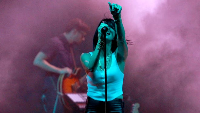 Phantogram perform during the McDowell Mountain Music Festival in Phoenix on Saturday, March 28, 2015.