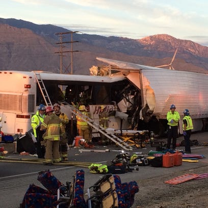 A tour bus and big rig collided on Interstate 10 on
