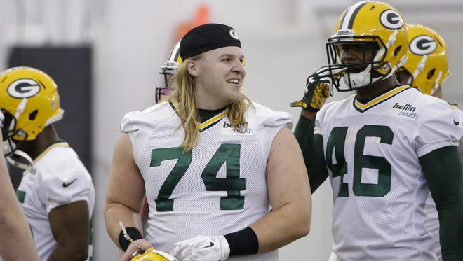 Green Bay Packers Matt Rotheram (74) drills during rookie camp practice in the Don Hutson Center.