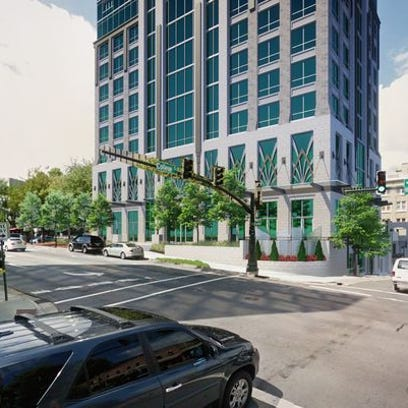 Rendering of the planned downtown Asheville McKibbon hotel at Pack Square.