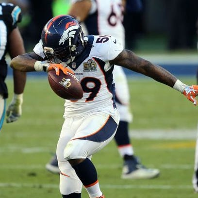Denver Broncos inside linebacker Danny Trevathan (59) dabs after recovering a fumble against the Carolina Panthers during the second quarter in Super Bowl 50 at Levi's Stadium