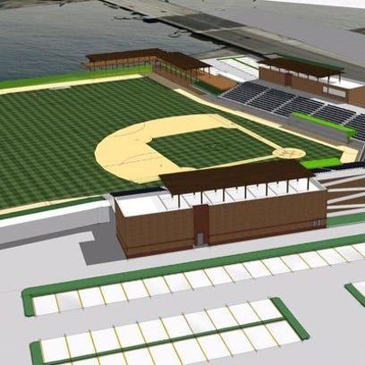 A conceptual drawing of a proposed 2,500-seat stadium on the west shore of the Fox River, north of Mason Street.