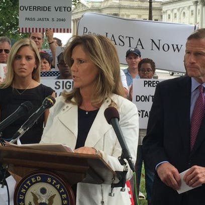 Terry Strada, national chair of the 9/11 Families and Survivors United for Justice Against Terrorism, speaks outside the U.S. Capitol on Sept. 20, 2016, urging President Obama to sign the Justice Against Sponsors of Terrorism Act.
